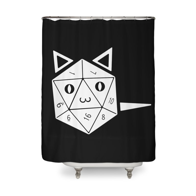 D20 Cat Home Shower Curtain by n3kogami prints