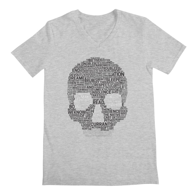 Hamlet Typography in Men's V-Neck Heather Grey by Jessica's Shop