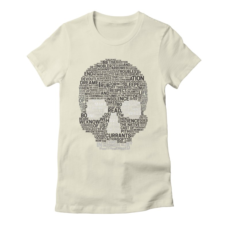 Hamlet Typography in Women's Fitted T-Shirt Natural by Jessica's Shop