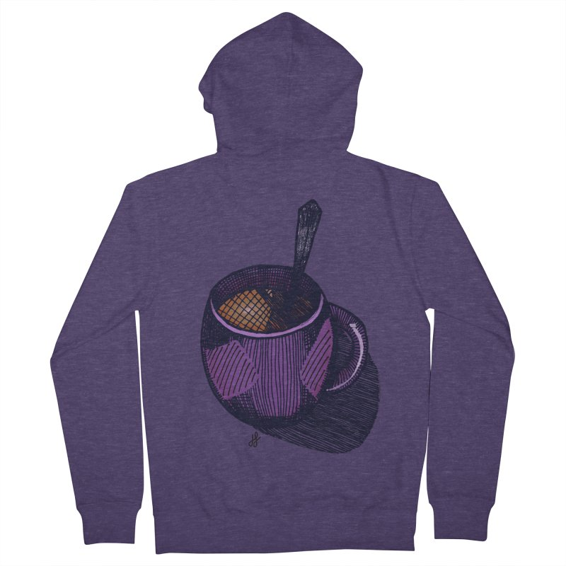 coffee mug (color version) Men's French Terry Zip-Up Hoody by J. Lavallee's Artist Shop