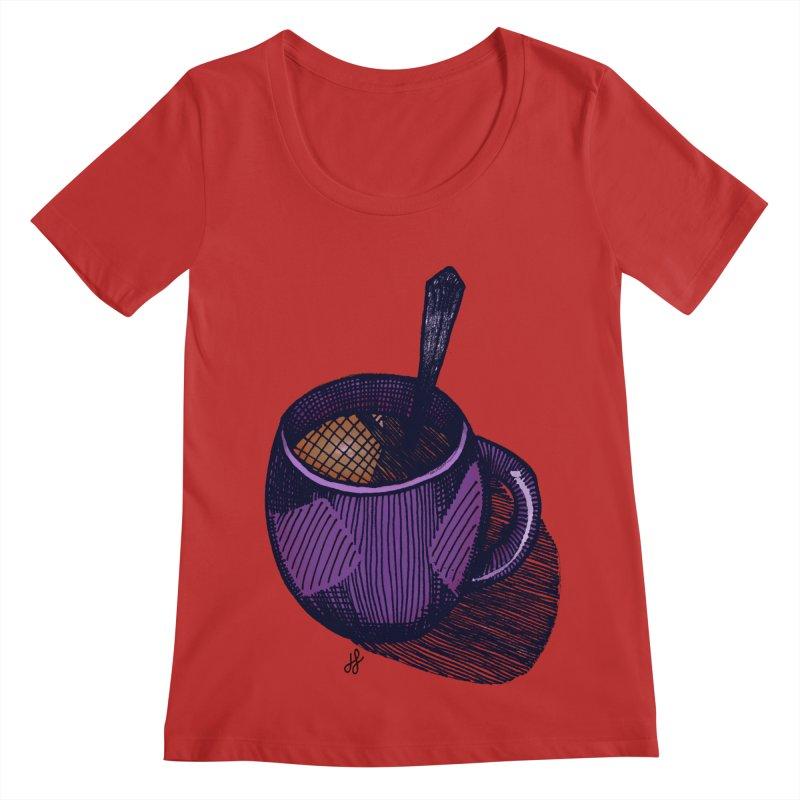 coffee mug (color version) Women's Regular Scoop Neck by J. Lavallee's Artist Shop