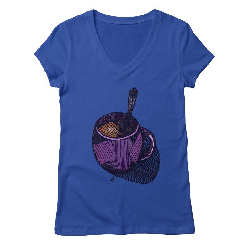 coffee mug (color version) Women's Regular V-Neck by J. Lavallee's Artist Shop