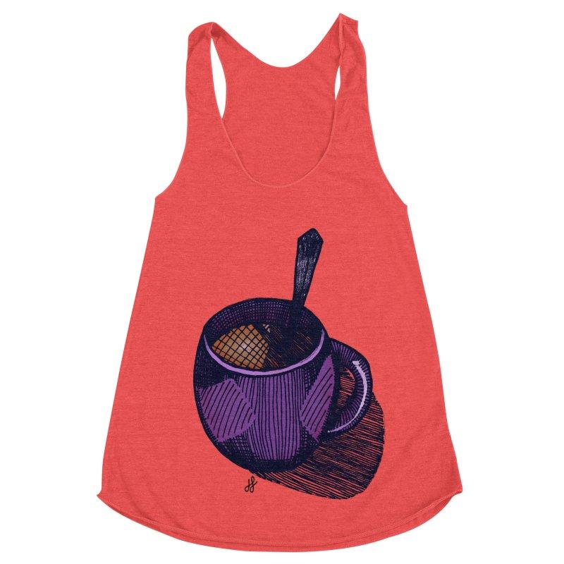 coffee mug (color version) Women's Racerback Triblend Tank by J. Lavallee's Artist Shop