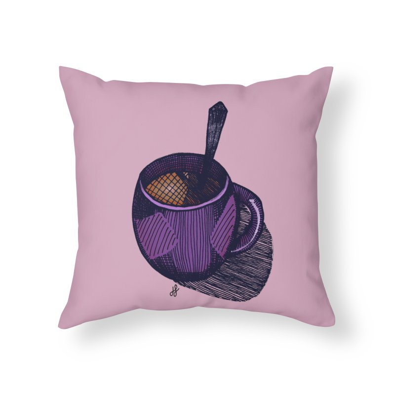 coffee mug (color version) Home Throw Pillow by J. Lavallee's Artist Shop