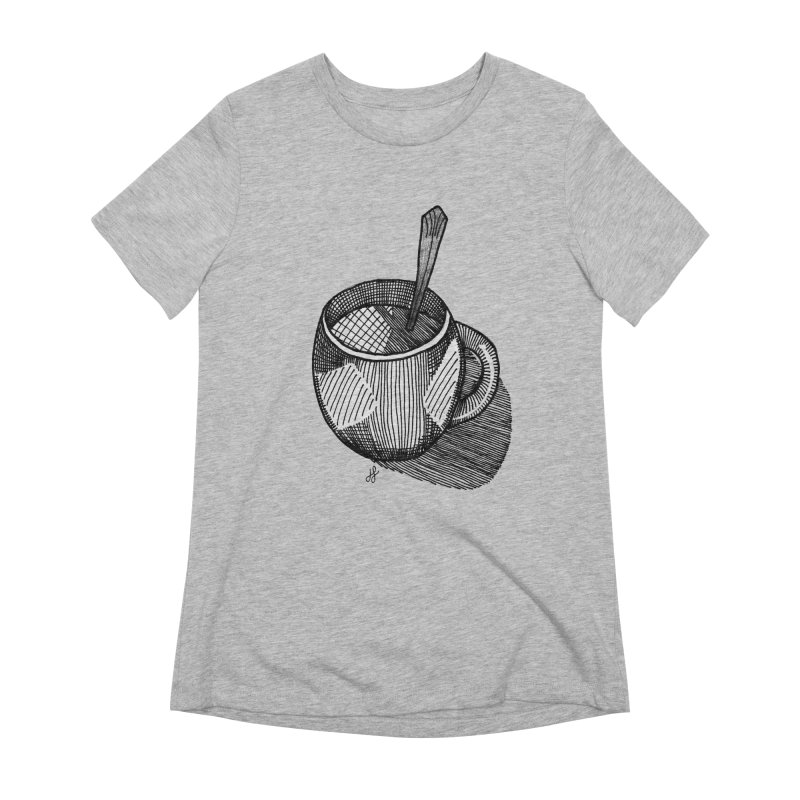 coffee mug (monochrome version) Women's Extra Soft T-Shirt by J. Lavallee's Artist Shop