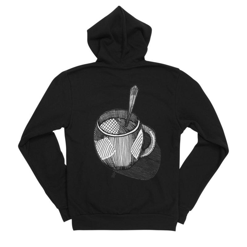 coffee mug (monochrome version) Women's Sponge Fleece Zip-Up Hoody by J. Lavallee's Artist Shop
