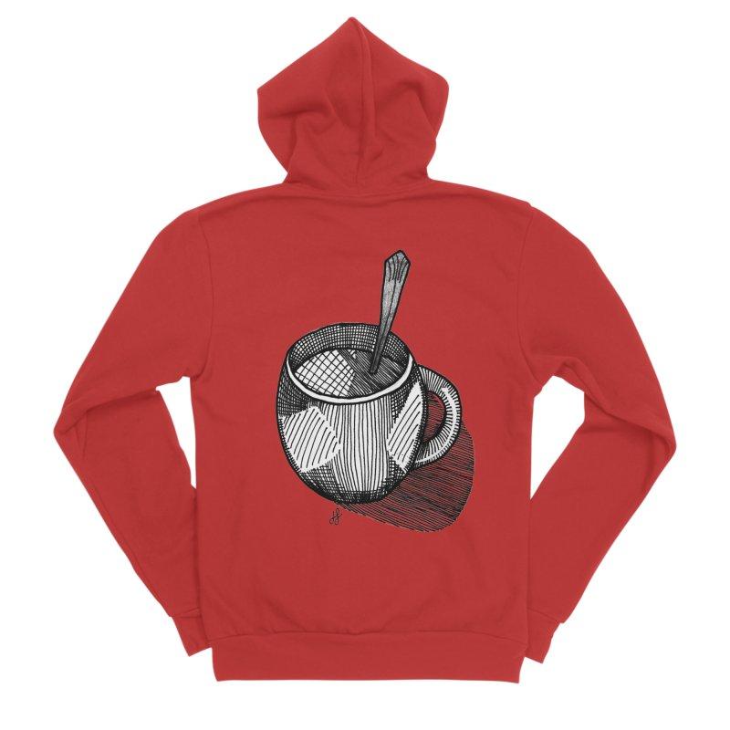 coffee mug (monochrome version) Men's Zip-Up Hoody by J. Lavallee's Artist Shop
