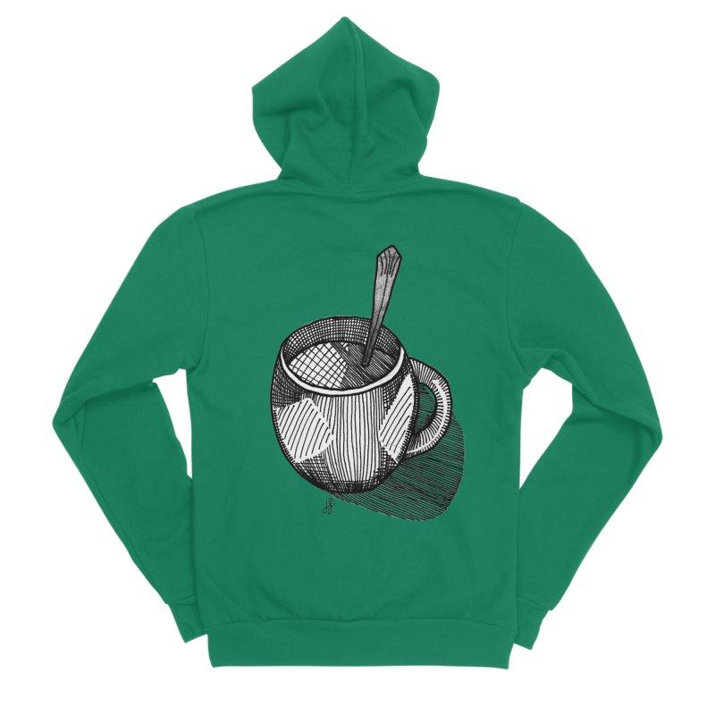 coffee mug (monochrome version) Men's Sponge Fleece Zip-Up Hoody by J. Lavallee's Artist Shop