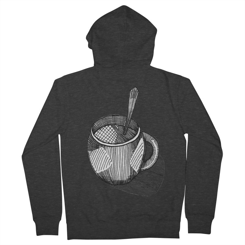 coffee mug (monochrome version) Men's French Terry Zip-Up Hoody by J. Lavallee's Artist Shop