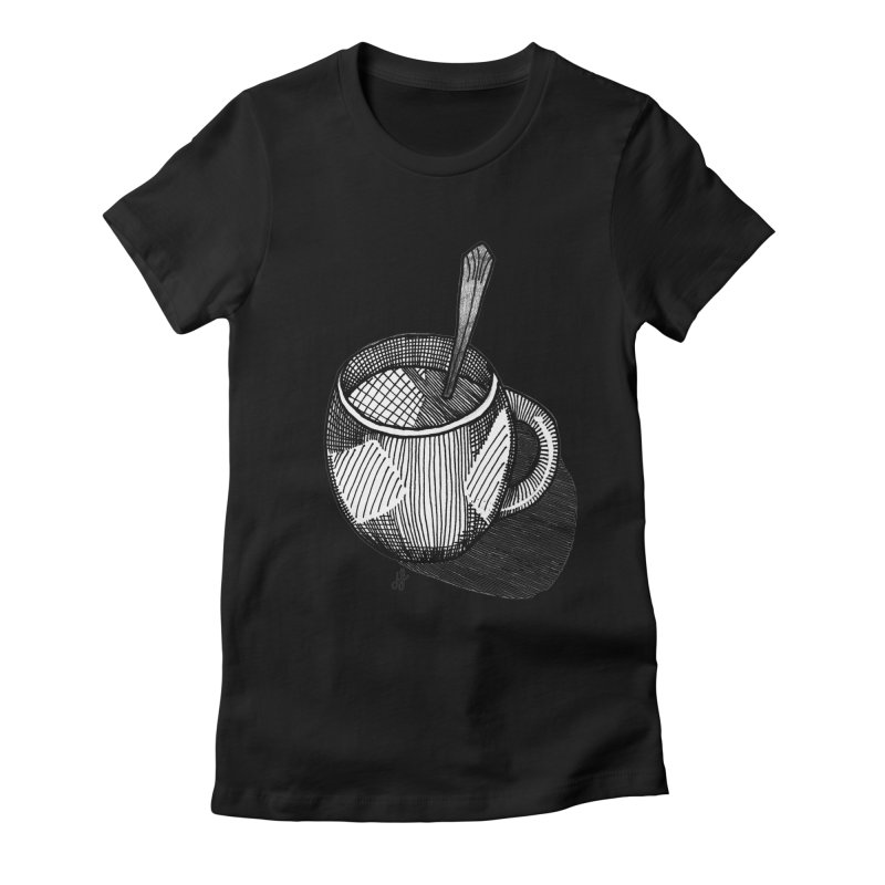 coffee mug (monochrome version) Women's Fitted T-Shirt by J. Lavallee's Artist Shop