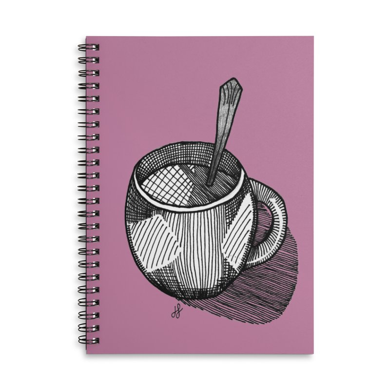 coffee mug (monochrome version) Accessories Lined Spiral Notebook by J. Lavallee's Artist Shop