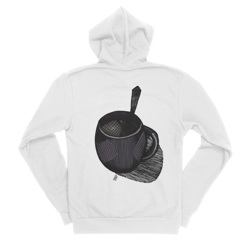 coffee mug (dark version) Men's Sponge Fleece Zip-Up Hoody by J. Lavallee's Artist Shop
