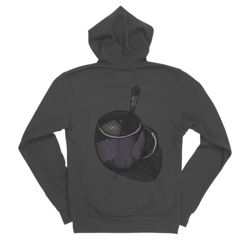 coffee mug (dark version) Men's Sponge Fleece Zip-Up Hoody by J. Lavallee's Artist Shop