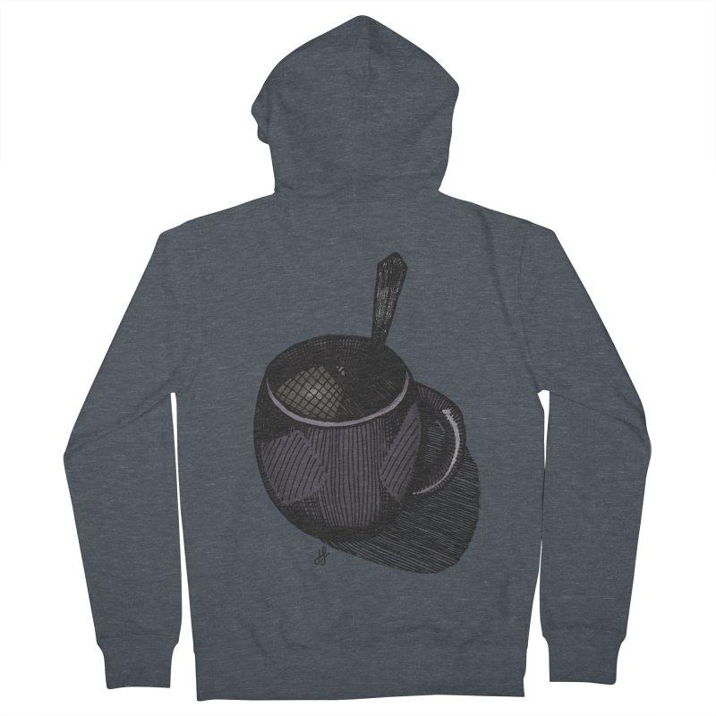 coffee mug (dark version) Men's French Terry Zip-Up Hoody by J. Lavallee's Artist Shop