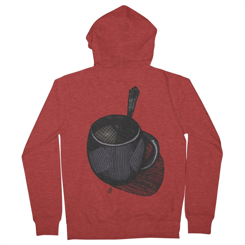 coffee mug (dark version) Men's French Terry Zip-Up Hoody by J. Lavallee's Artist Shop