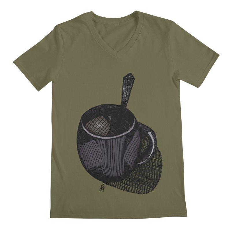 coffee mug (dark version) Men's Regular V-Neck by J. Lavallee's Artist Shop