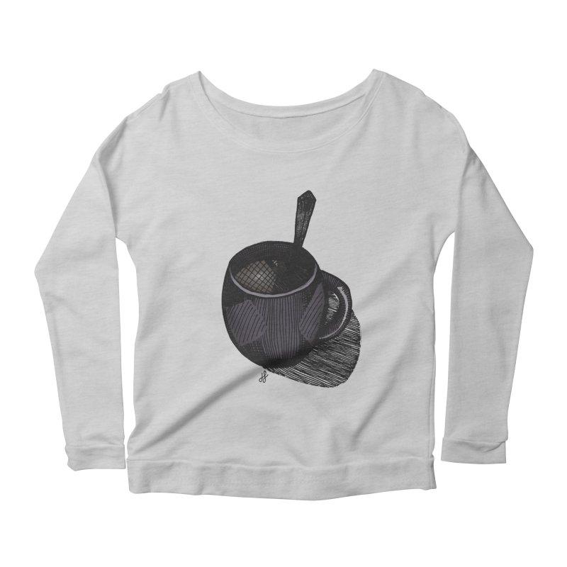 coffee mug (dark version) Women's Scoop Neck Longsleeve T-Shirt by J. Lavallee's Artist Shop
