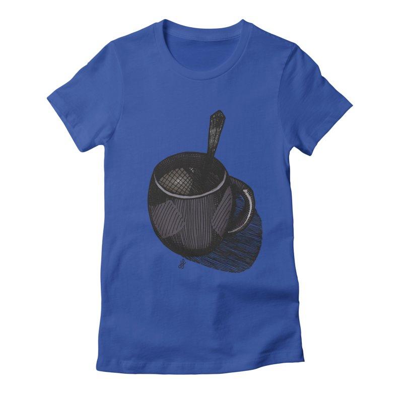 coffee mug (dark version) Women's Fitted T-Shirt by J. Lavallee's Artist Shop