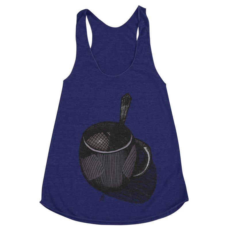 coffee mug (dark version) Women's Racerback Triblend Tank by J. Lavallee's Artist Shop
