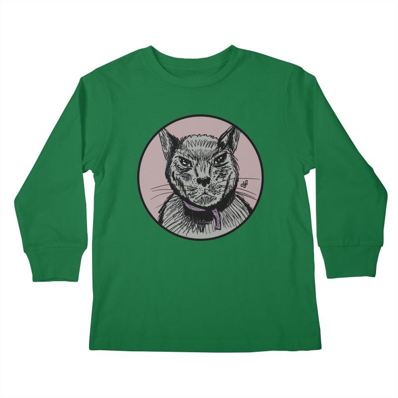 """murder cat"" Kids Longsleeve T-Shirt by J. Lavallee's Artist Shop"