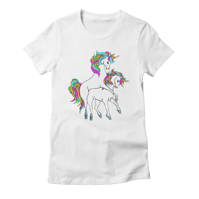 Unicorn Love Women's Fitted T-Shirt by Lili Valente Makes Stuff