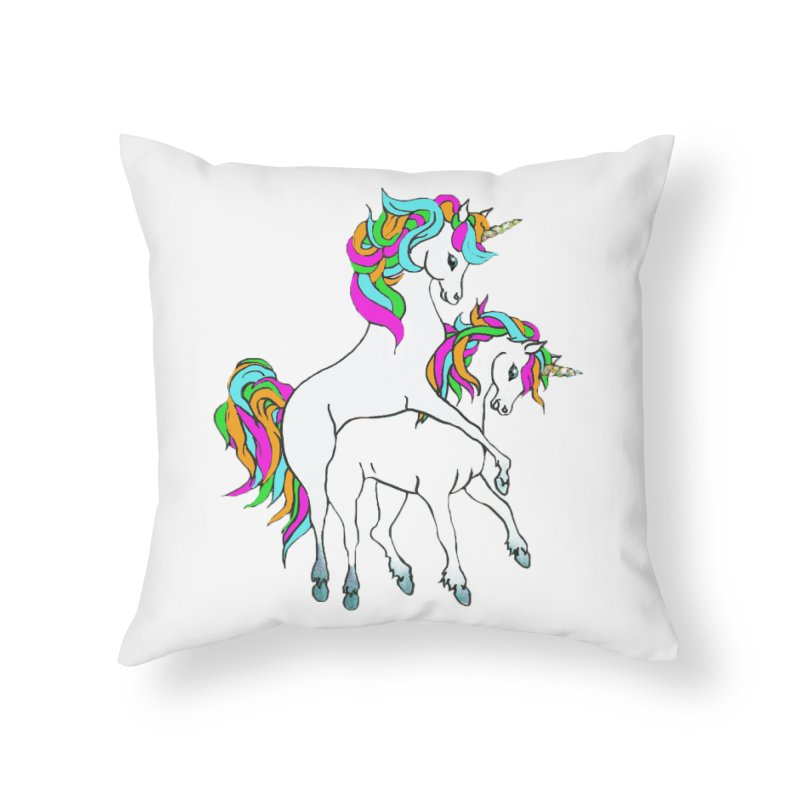 Unicorn Love Home Throw Pillow by Lili Valente Makes Stuff