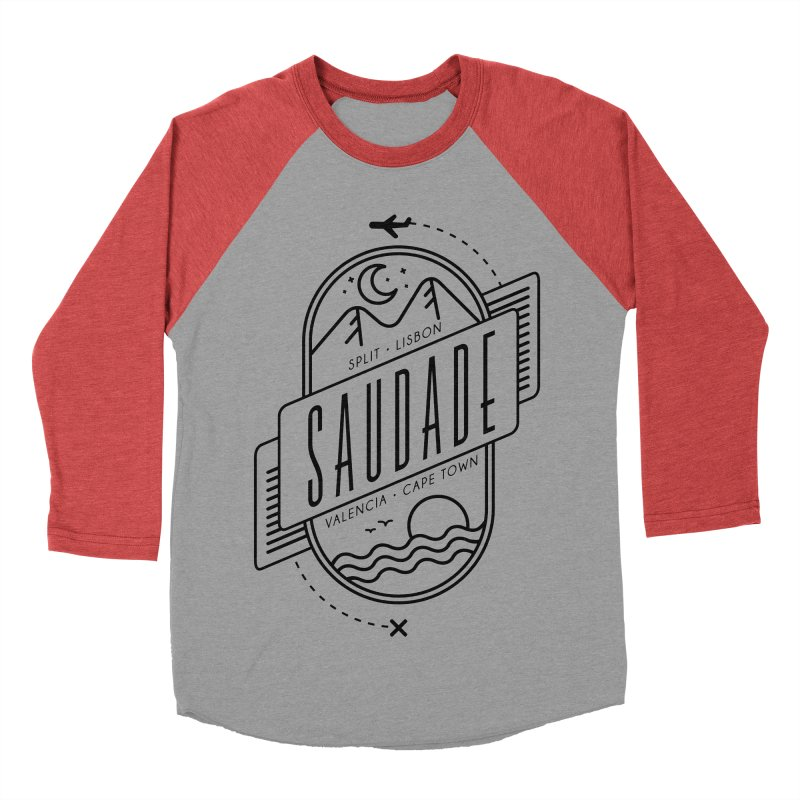 Saudade Black Men's Baseball Triblend Longsleeve T-Shirt by Jessika Savage Artist Shop