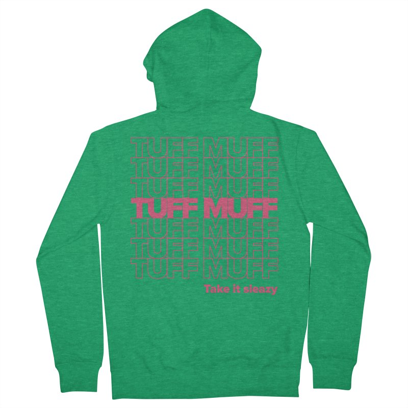 Tuff Muff - pink Men's French Terry Zip-Up Hoody by Jessika Savage Artist Shop