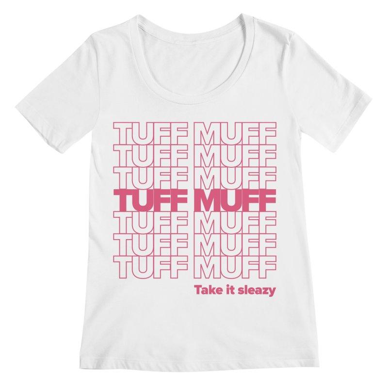 Tuff Muff - pink Women's Regular Scoop Neck by Jessika Savage Artist Shop