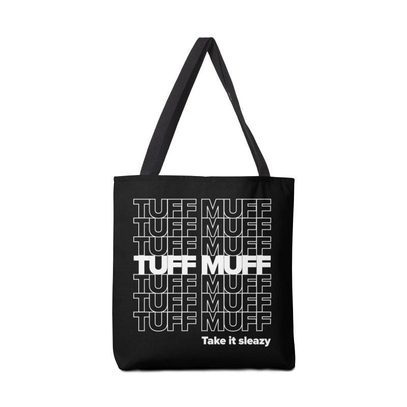 Tuff Muff - white logo Accessories Tote Bag Bag by Jessika Savage Artist Shop
