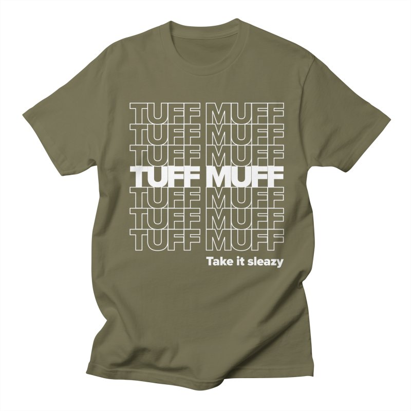 Tuff Muff - white logo Men's Regular T-Shirt by Jessika Savage Artist Shop