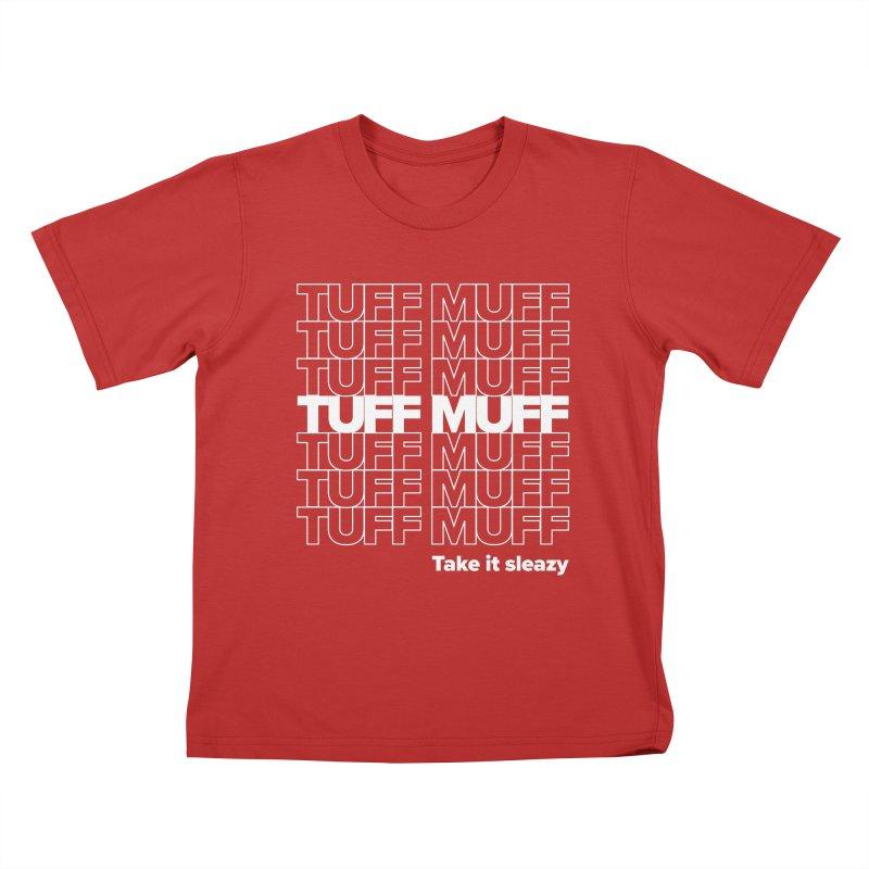 Tuff Muff - white logo Kids T-Shirt by Jessika Savage Artist Shop