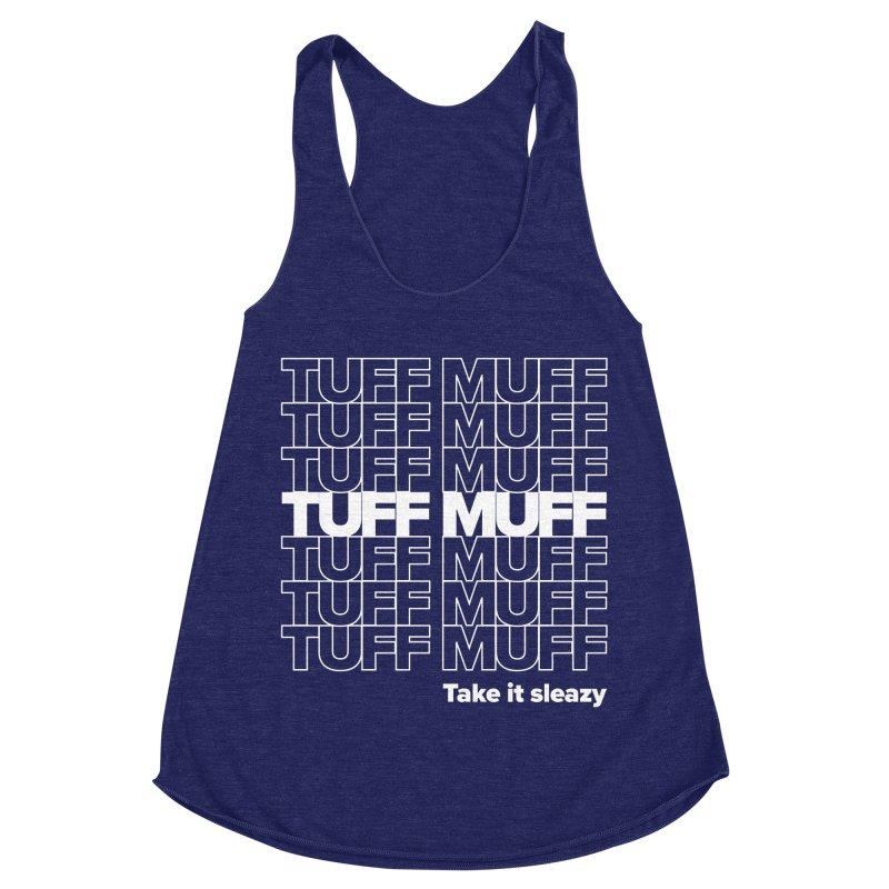 Tuff Muff - white logo Women's Racerback Triblend Tank by Jessika Savage Artist Shop