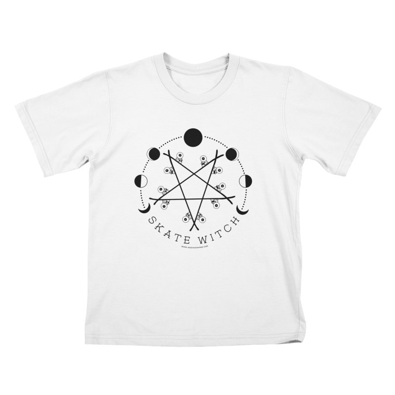 Skateboard Skate Witch Design Kids T-Shirt by Jessika Savage Artist Shop