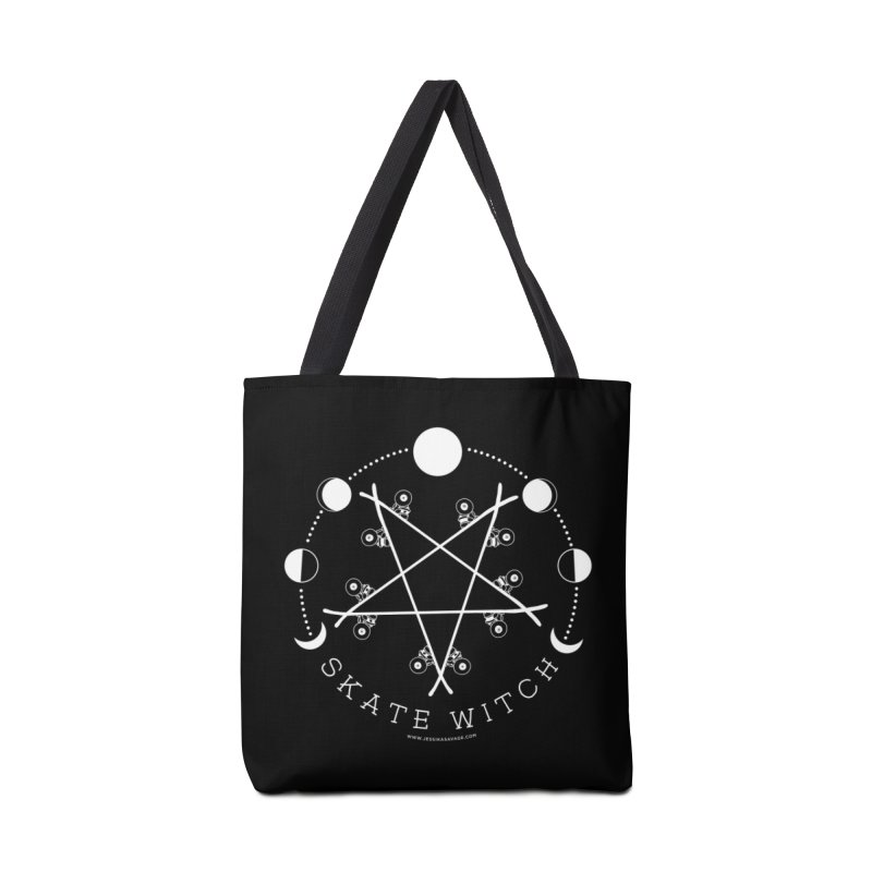 Skateboard Skate Witch in white Accessories Tote Bag Bag by Jessika Savage Artist Shop