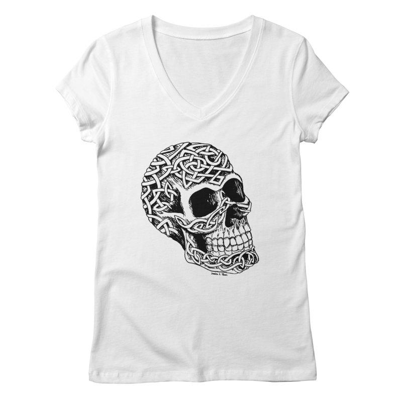 Celtic Skull Women's V-Neck by jessileigh's Artist Shop