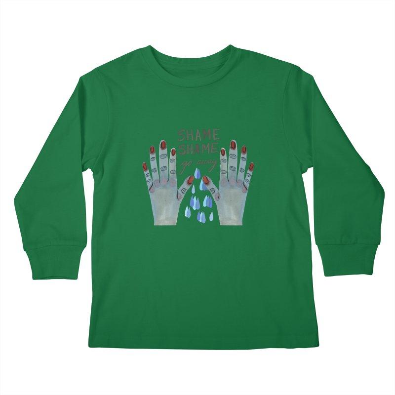SHAME SHAME go away Kids Longsleeve T-Shirt by Shame Shame, go away by Jess Mac