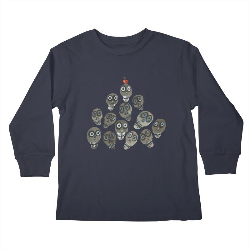 Pile-o-skulls Kids Longsleeve T-Shirt by Shame Shame, go away by Jess Mac
