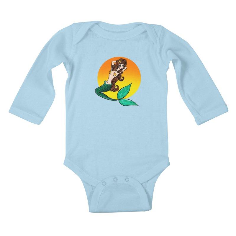 Sunny Mermaid Kids Baby Longsleeve Bodysuit by jessperezes's Artist Shop