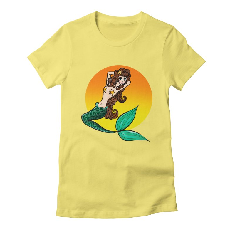 Sunny Mermaid Women's Fitted T-Shirt by jessperezes's Artist Shop