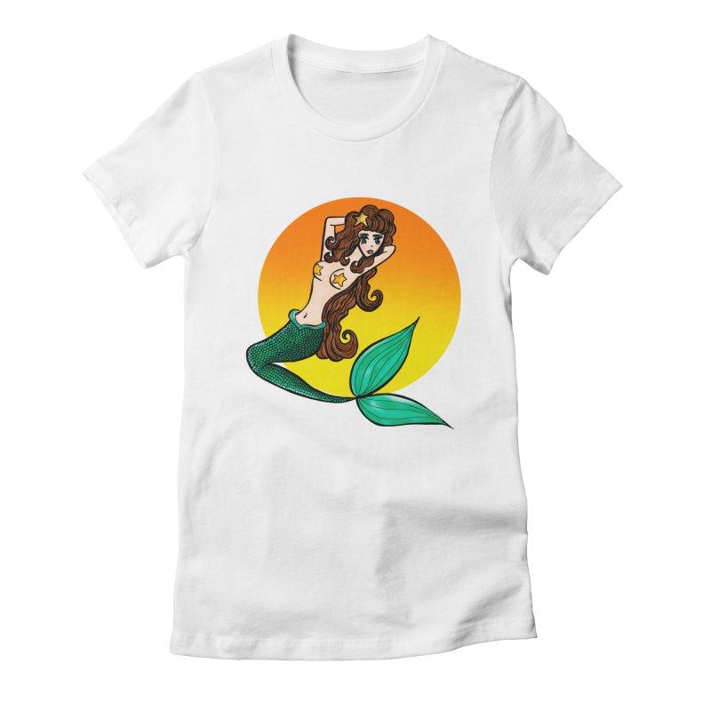 Sunny Mermaid Women's Fitted T-Shirt by jessperezes's Artist Shop