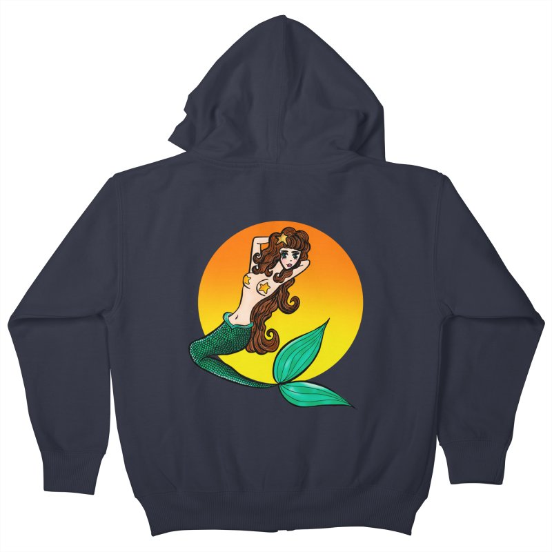 Sunny Mermaid Kids Zip-Up Hoody by jessperezes's Artist Shop