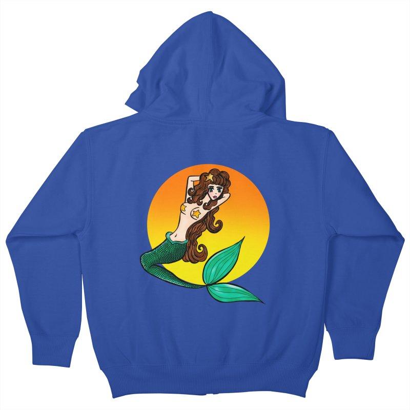 Sunny Mermaid Kids Zip-Up Hoody by jessperezes's Artist Shop