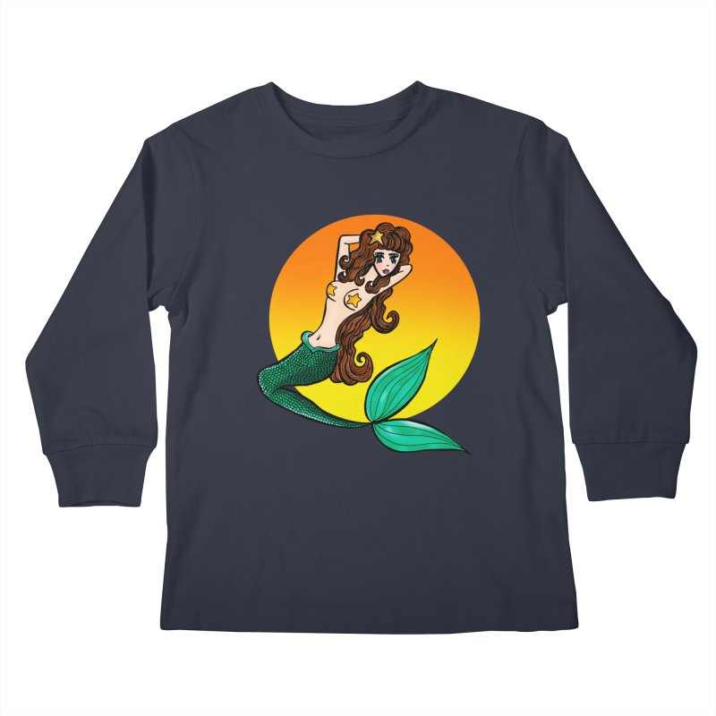 Sunny Mermaid Kids Longsleeve T-Shirt by jessperezes's Artist Shop