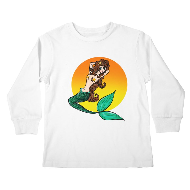 Sunny Mermaid Kids Longsleeve T-Shirt by jessperezes's Artist Shop
