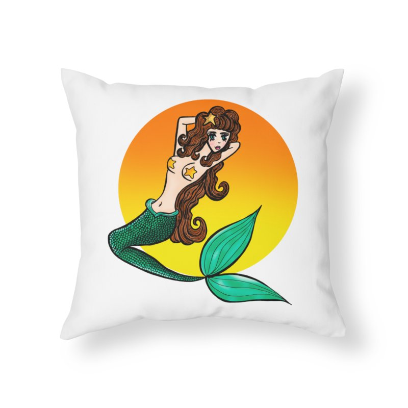 Sunny Mermaid Home Throw Pillow by jessperezes's Artist Shop