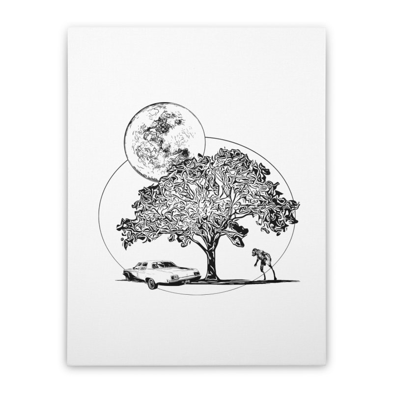 Full Moon on Lover's Lane - Classic Monster Version Home Stretched Canvas by Jason Henricks' Artist Shop