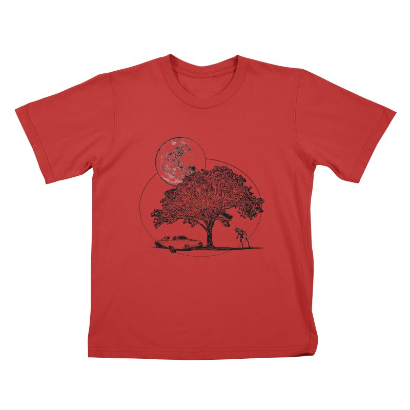 Full Moon on Lover's Lane - Classic Monster Version Kids T-shirt by Jason Henricks' Artist Shop