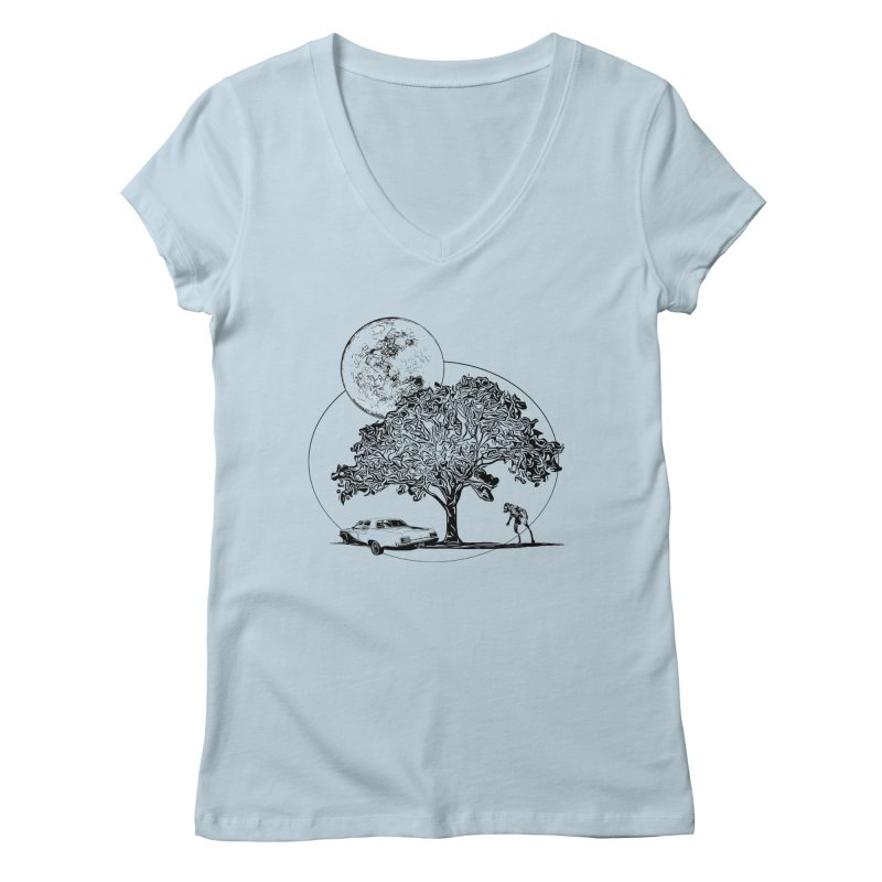 Full Moon on Lover's Lane - Classic Monster Version Women's V-Neck by Jason Henricks' Artist Shop