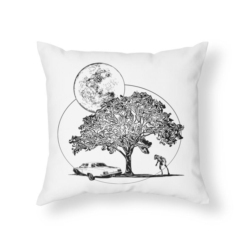 Full Moon on Lover's Lane - Classic Monster Version in Throw Pillow by Jason Henricks' Artist Shop